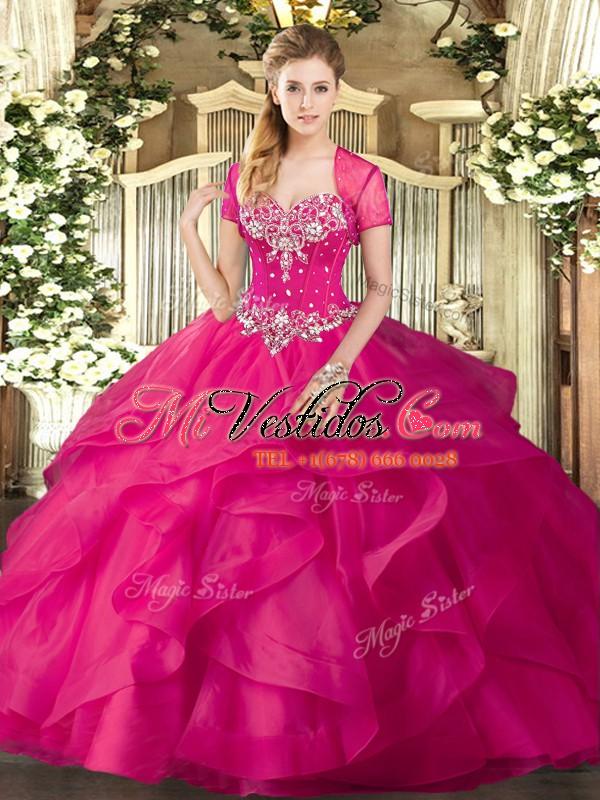 vestidos de baile de color rosa con tul sin mangas y volantes de tul ...