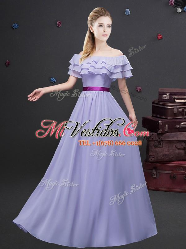 De la longitud del piso del hombro lavanda dama vestido de gasa ...