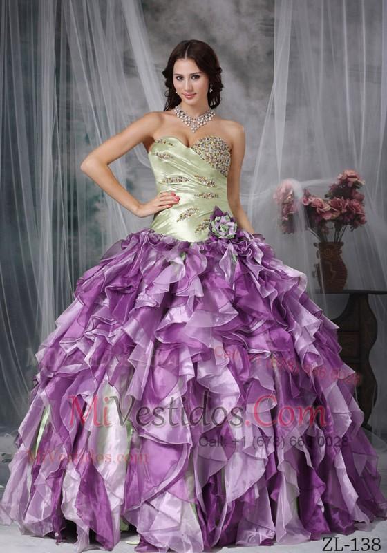 06221a1b6 Colorful Vestido De Fiesta Dulceheart Hasta El Suelo Tafetán Y Organdí  Bordado Y Volantes Quinceanea Vestido. triumph