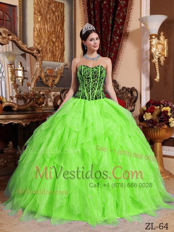 Vestidos de 15 verde claro