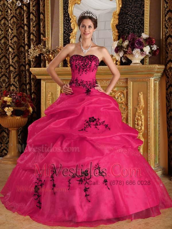85795f1ab Rojo Coral Vestido De Fiesta Dulceheart Hasta El Suelo Satén Y Organdí Bordado  Vestido De Quinceañera. triumph