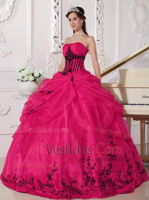 Rojo Y Negro Vestido De Fiesta Estrapless Hasta El Suelo Organdí ...