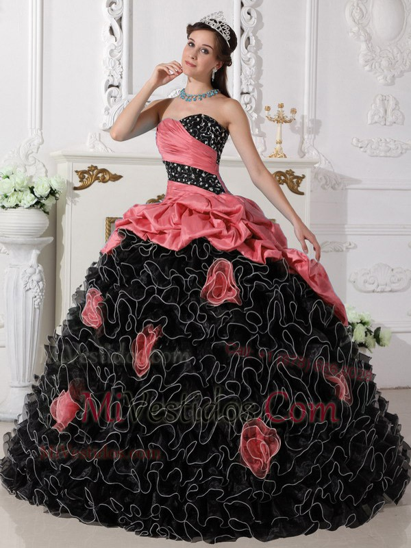 Vestidos rojo con negro para xv