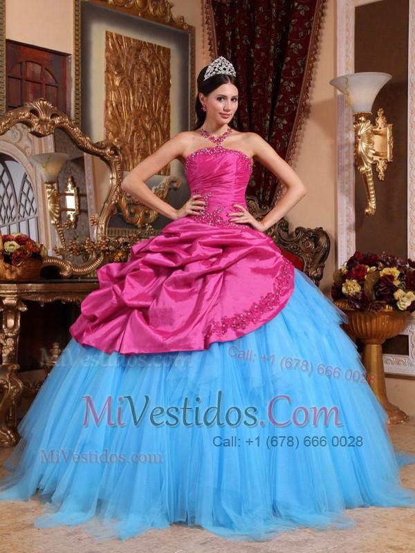 Caliente Rosa Y Azul Vestido De Fiesta Estrapless Hasta El Suelo Con ...