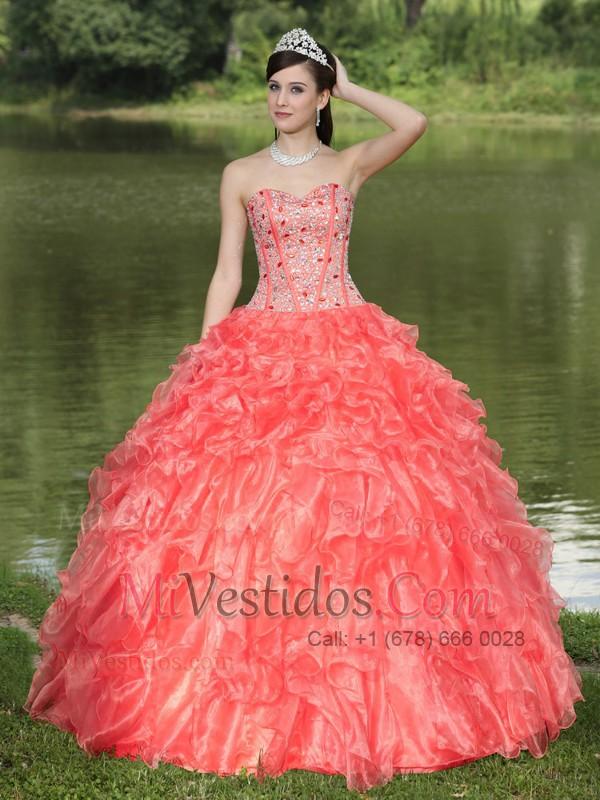 vestidos de 15 sencillos largos color salmon