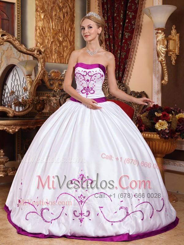6b1182c18 Blanco Vestido De Fiesta Estrapless Hasta El Suelo Satén Bordado Vestido De  Quinceañera. triumph