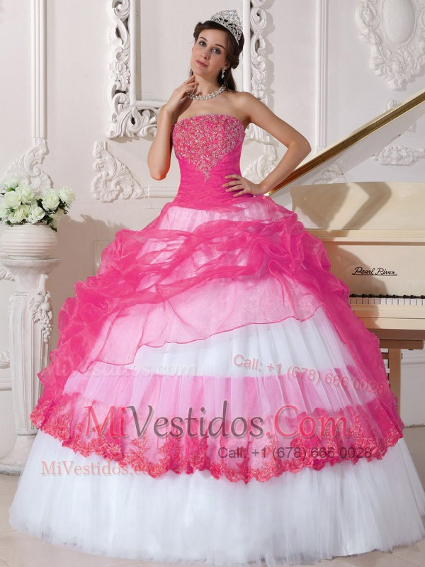 Caliente Rosa Y Blanco Vestido De Fiesta Estrapless Hasta El Suelo ...