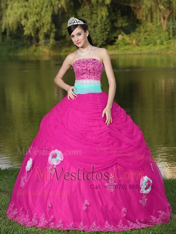 Tul Estrapless Caliente Rosa Vestido De Quinceañera para Girl Con ...