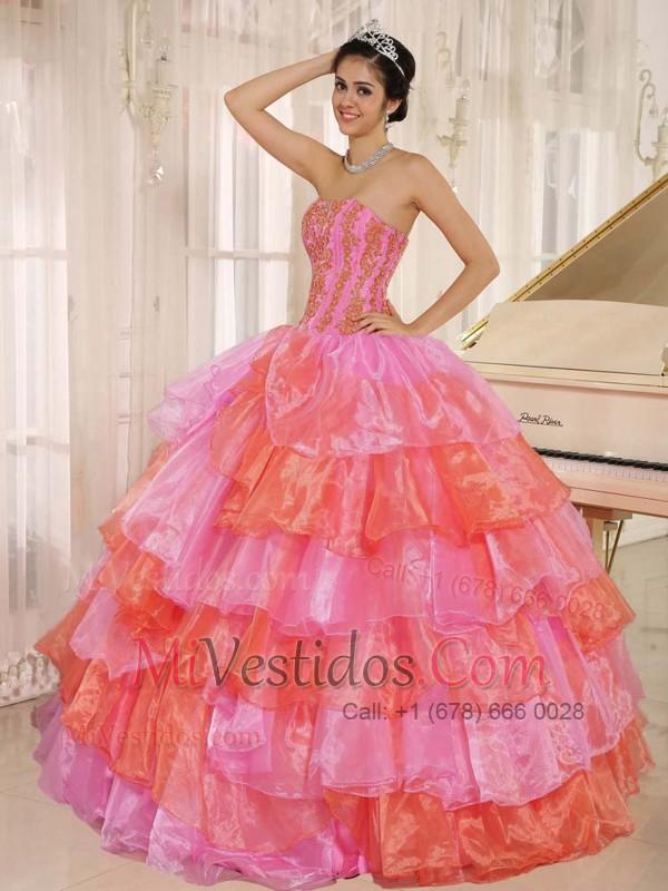 Ruflfled Layers Y Decorate Up Bodice para Rosa Y Naranja Vestido De ...