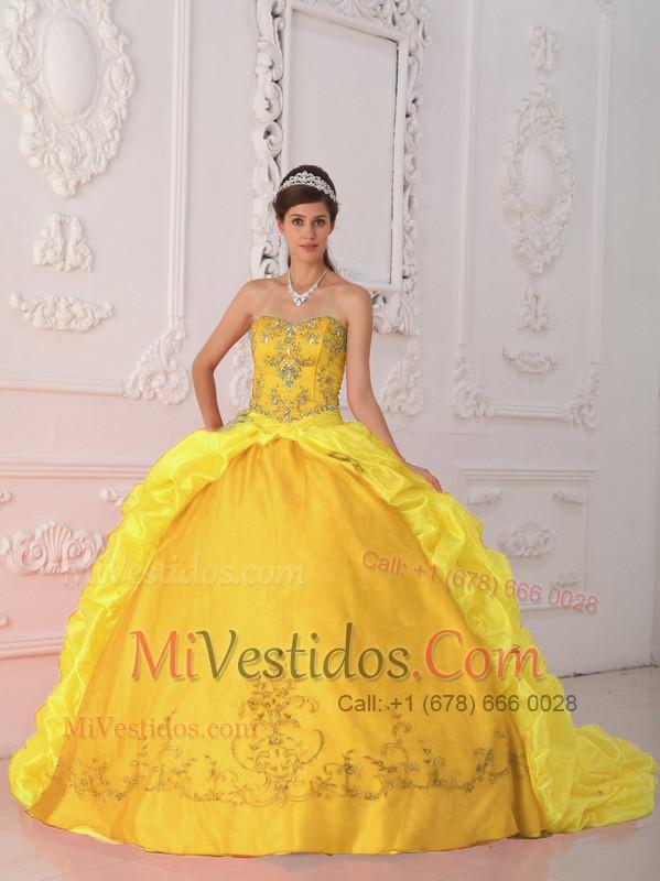 526789706 Amarillo Vestido De Fiesta Dulceheart Hasta El Suelo Tafetán Bordado Y  Vestido De Quinceañera. triumph