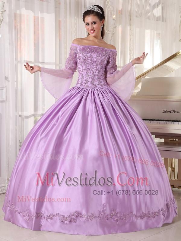 Lavanda Vestido De Fiesta Hombros Caídos Hasta El Suelo Tafetán Y ...