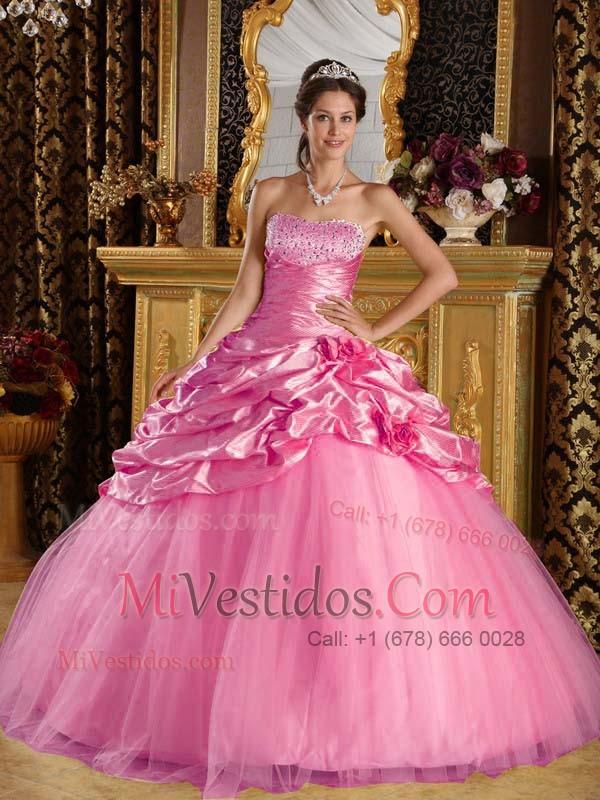 Rosa Rosa Vestido De Fiesta Hasta El Suelo Tafetán Y Tul Bordado ...