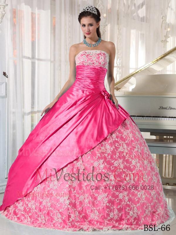 Caliente Rosa Vestido De Fiesta Estrapless Hasta El Suelo Tafetán ...