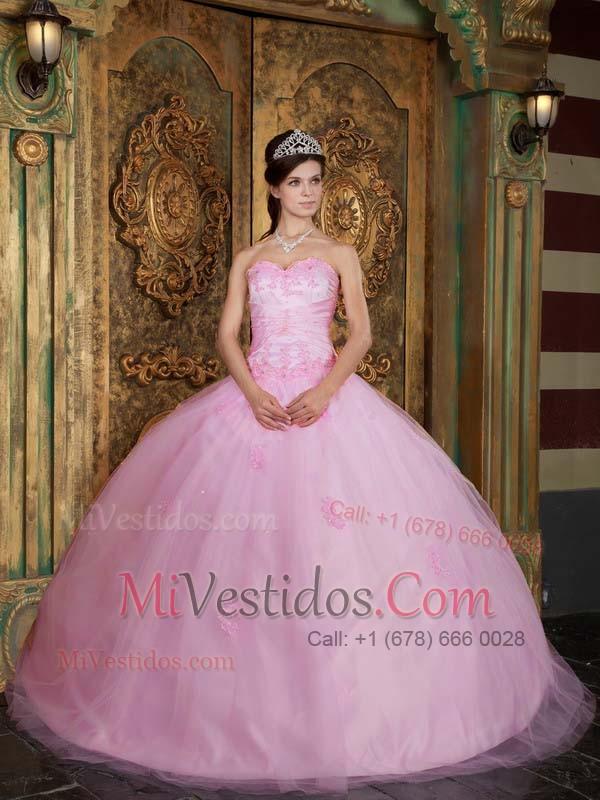 vestido rosa bebe tul quinceañera | new quinceanera dresses