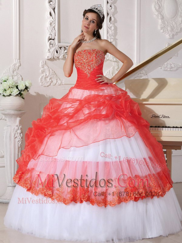 vestido rojo y blanco | new quinceanera dresses