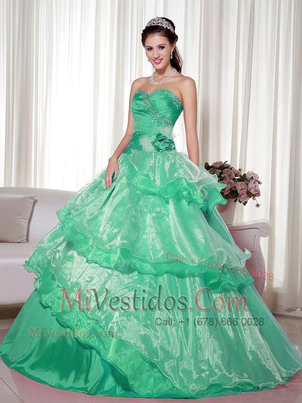 8e88725bb Verde Vestido De Fiesta Dulceheart Hasta El Suelo Tafetán Y Organdí Bordado  Y Flor Hecha A. triumph