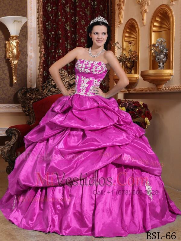 Fucsia Vestido De Fiesta Estrapless Hasta El Suelo Tafetán Vestido ...