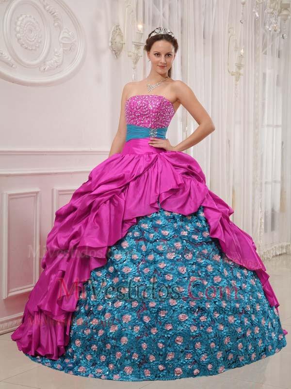 Caliente Rosa Y Azul Vestido De Fiesta Estrapless Hasta El Suelo ...