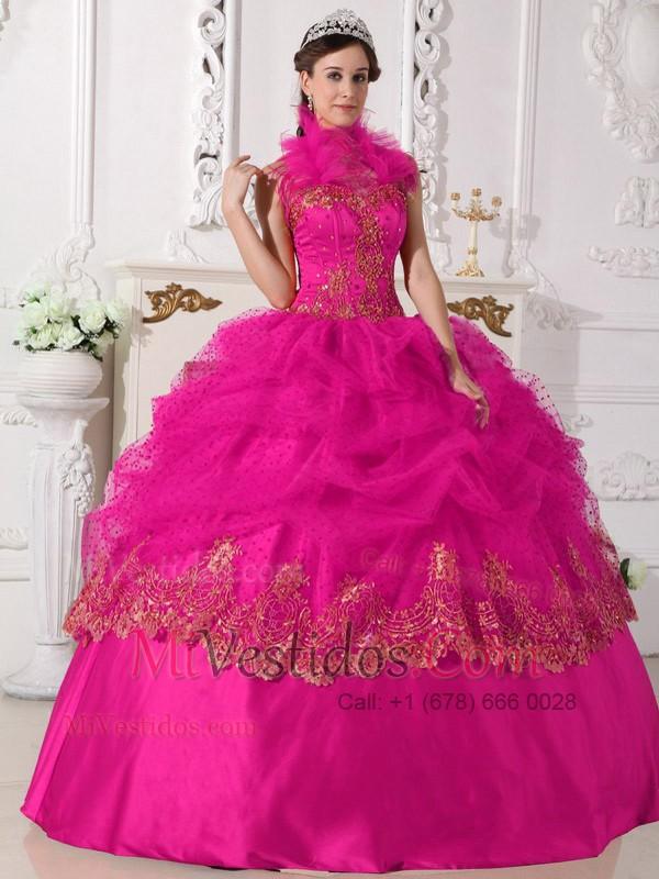 Caliente Rosa Vestido De Fiesta Cabestro Hasta El Suelo Tafetán ...