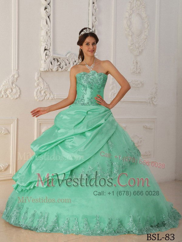 e2b60990d Verde Manzana Corte A   Princesa Dulceheart Hasta El Suelo Tafetán Y ...