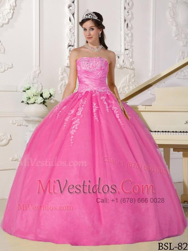 Rosa Vestido De Fiesta Estrapless Hasta El Suelo Tafetán Y Tul ...
