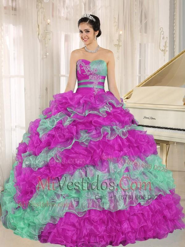 Stylish Multicolora 2015 Vestido De Quinceañera Volantes Con ...