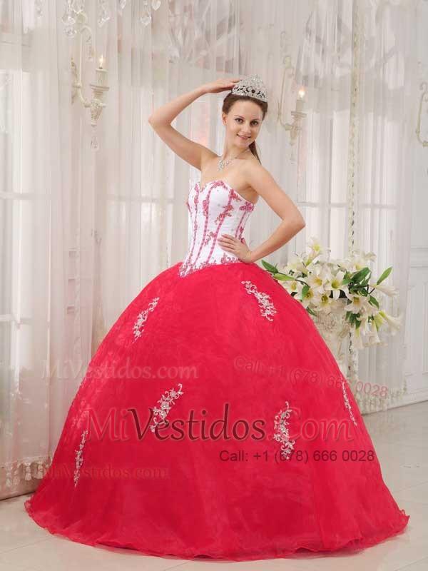 5de46f43f €308.59 €166.73  Blanco Y Rojo Coral Vestido De Fiesta Dulceheart Hasta El Suelo  Tafetán Y Organdí Vestido De
