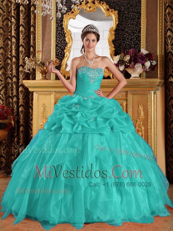 9984f4f0d Azul Aqua Vestido De Fiesta Dulceheart Hasta El Suelo Organdí Con Bordado  Vestido De Quinceañera. triumph