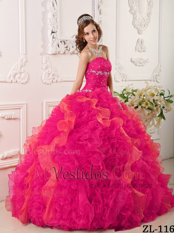 Rojo Coral Vestido De Fiesta Dulceheart Hasta El Suelo Organdí Y ...
