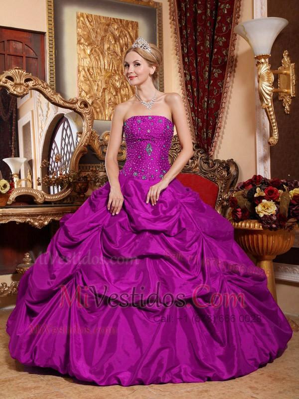 Púrpura Vestido De Fiesta Estrapless Hasta El Suelo Tafetán Bordado ...