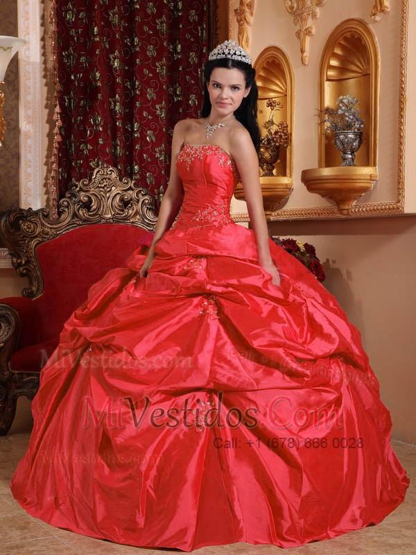\u20ac263.89 \u20ac150.52 Rojo Coral Vestido De Fiesta Estrapless Hasta El Suelo Tafetán Bordado Vestido De Quinceañera