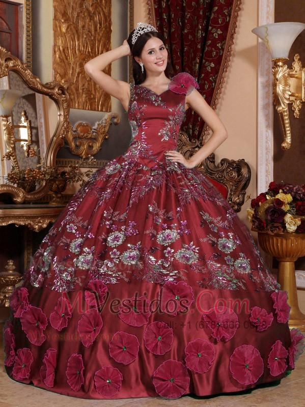 4feea773b Rojo Vino Vestido De Fiesta V-neck Hasta El Suelo Satén Bordado Y Vestido  De. triumph