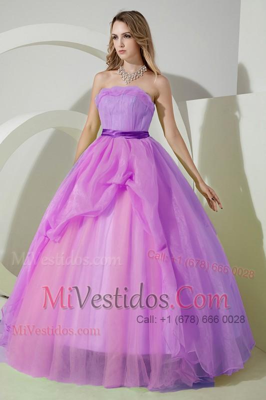 Púrpura Corte A / Princesa Estrapless Hasta El Suelo Organdí Bordado ...