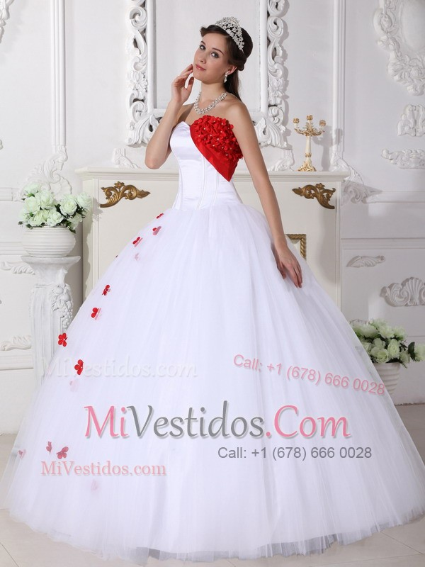 Vestidos de 15 blanco y rojo