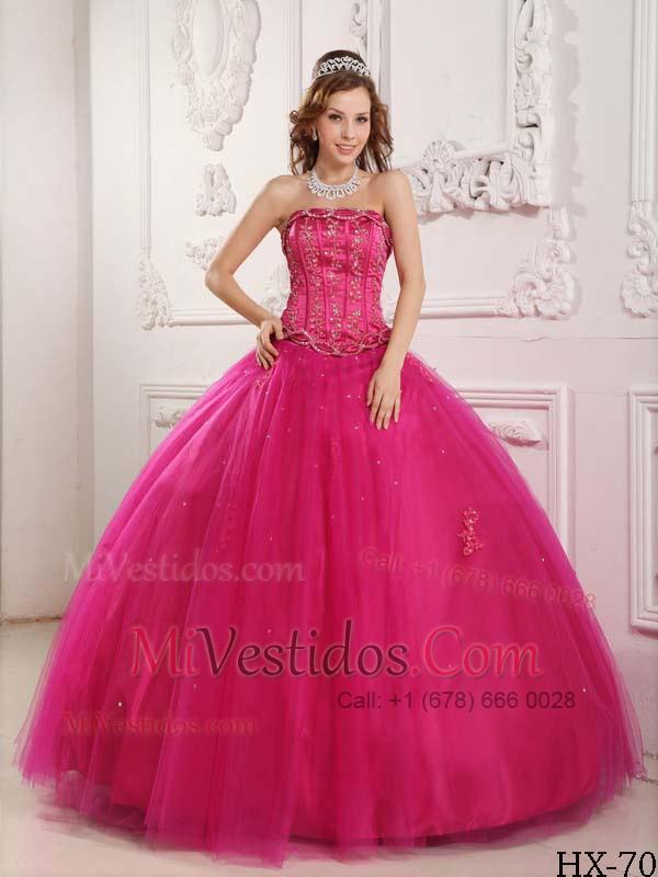 Elegante Vestido De Fiesta Estrapless Hasta El Suelo Tul Bordado ...
