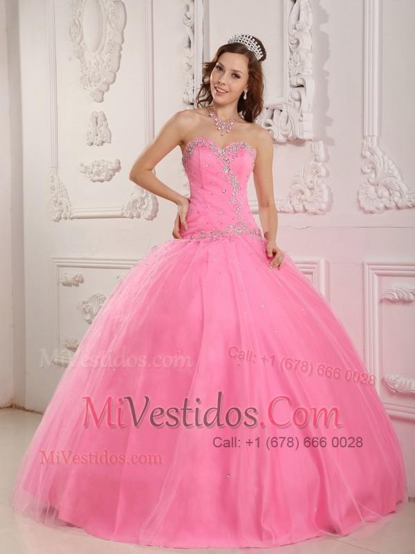 Precioso Vestido De Fiesta Dulceheart Hasta El Suelo Tul Rosa Rosa ...
