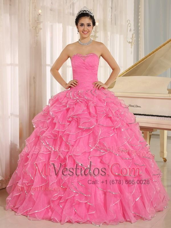 2015 Volantes Y Beaded para Rosa Rosa Vestido De Quinceañera Por ...