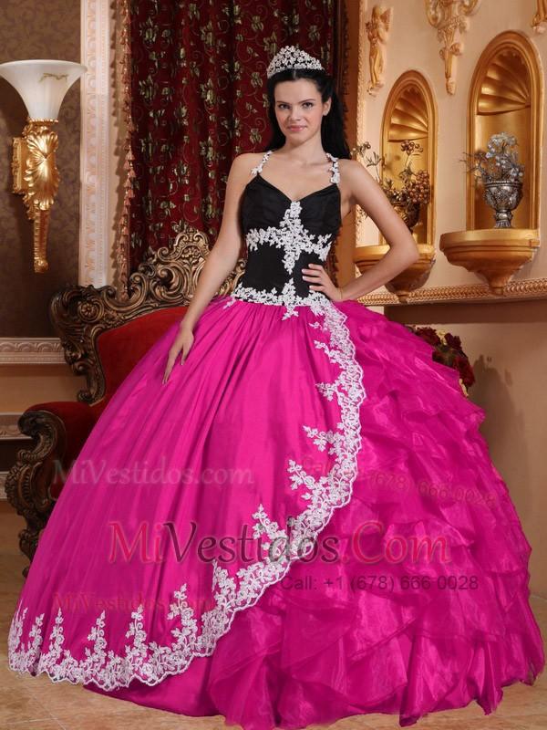 Caliente Rosa Vestido De Fiesta V-neck Hasta El Suelo Tafetán Y ...