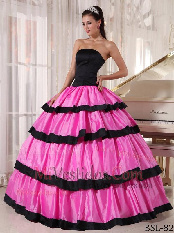 Rose Rosa Y Negro Vestido De Fiesta Estrapless Hasta El Suelo ...