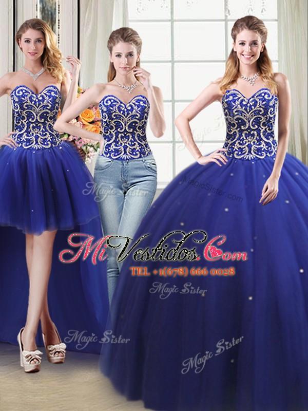 2502da8c5 Atractivos cuatro pedazos de azul real vestido de bola rebordeando ...