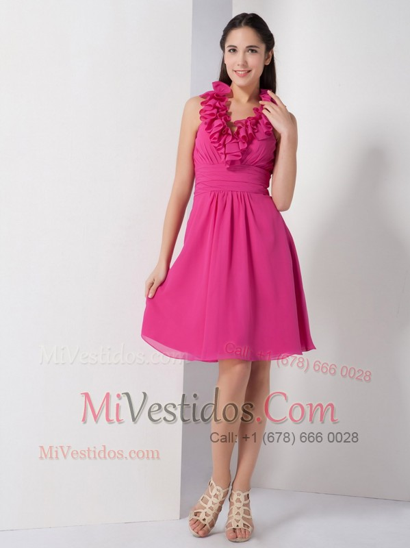 Hot Pink Halter Ruching Chiffon Homecoming Dress - €81.28
