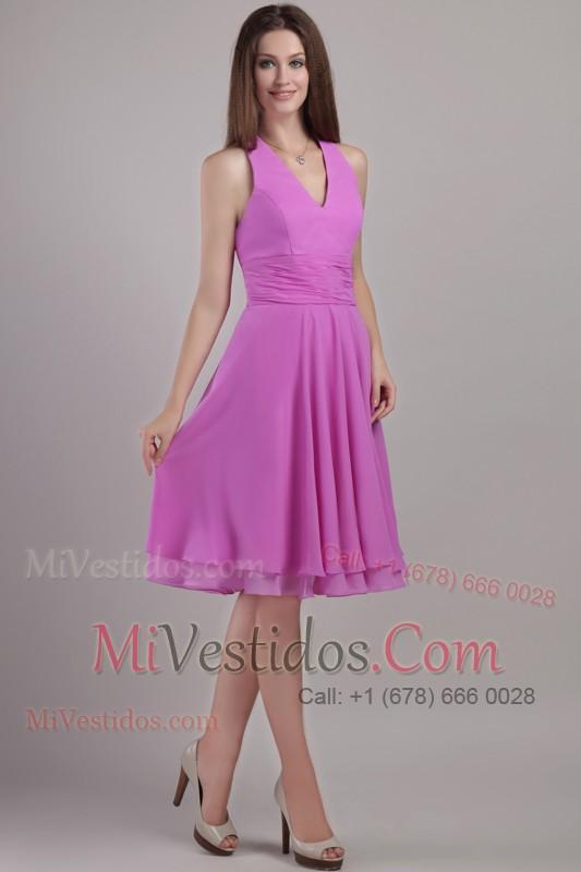 Halter Dama Dress Lavender Ruched Knee-length - €81.39