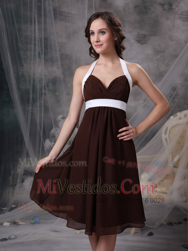 Halter Ruched Prom Dress with Knee-length and Sash