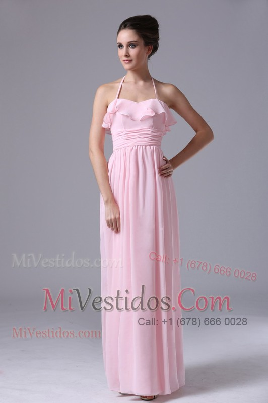 Halter Chiffon Prom Dress 2013 Ruched Baby Pink - €122.54