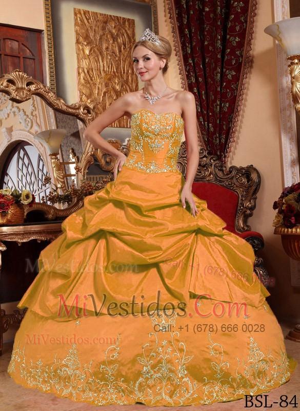 2fa373cc4 Naranja Vestido De Fiesta Dulceheart Hasta El Suelo Tafetán Bordado Con Bordado  Vestido De Quinceañera. triumph