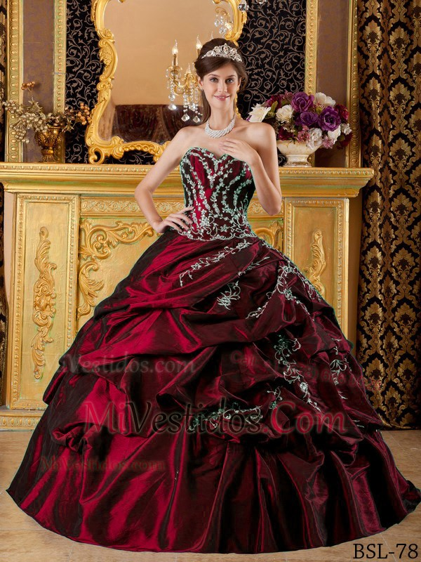 d3ac01a3e €341.89 €175.21  Rojo Vino Vestido De Fiesta Dulceheart Hasta El Suelo  Tafetán Vestido De Quinceañera