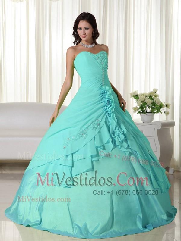 3e832e18f Azul Aqua Vestido De Fiesta Dulceheart Hasta El Suelo Chifón Bordado Vestido  De Quinceañera. triumph