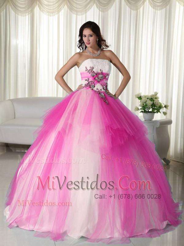 Rosa Y Blanco Vestidos De Quinceañera,Rosa Y Blanco Quinceañera Dresses