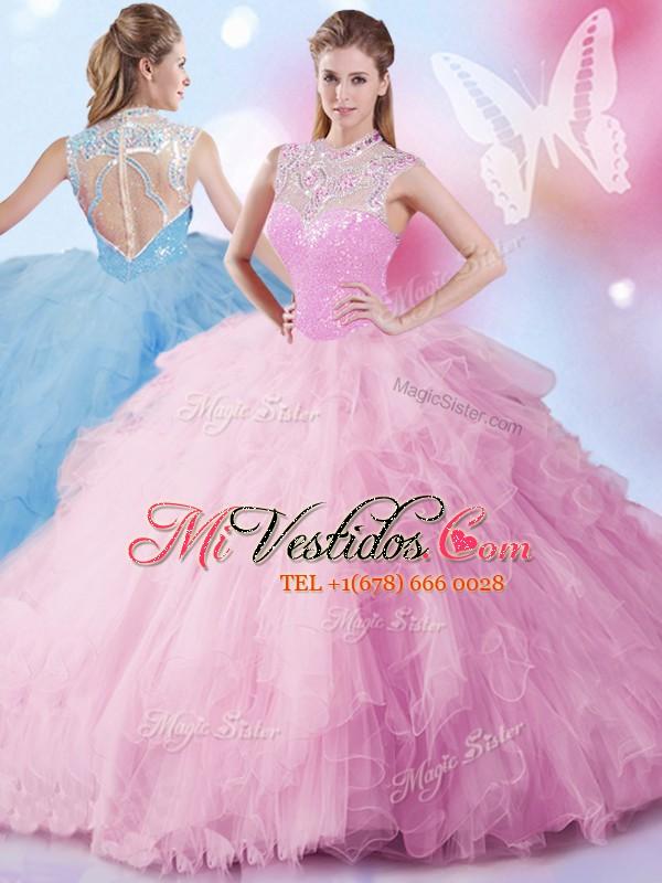 Lentejuelas vestidos de fiesta vestido de quinceañera rosa bebé de ...