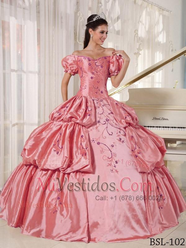 Vestido De Fiesta Hombros Caídos Hasta El Suelo Tafetán Bordado ...